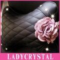 Ladycrystal Crystal Rhinestone Car Headrest Neck Pillow Diamond Flower Car Headrest Pillow Auto Interior Decoration Accessories