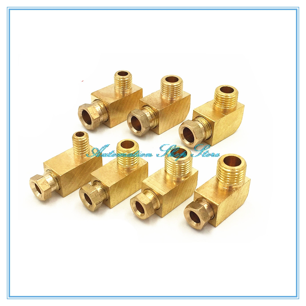 Machine Tool Lubrication Brass Oil Pipe Fitting 4 6 8mm OD Tube Compression Ferrule Tube Compression Fitting Connector