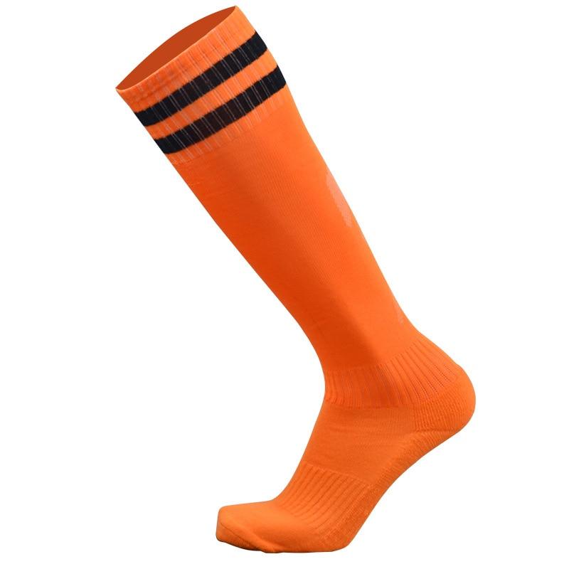 1 пара спортивные носки полиэстер прочный дышащий пота Футбол Бег Велоспорт утолщение открытый спортивные гольфы для Для мужчин мальчиков - Цвет: Оранжевый