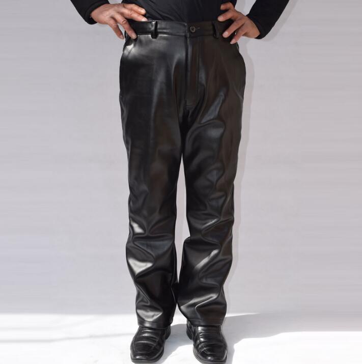 US $40.18 18% OFF|Loos herrenbekleidung mode motorrad leder hosen herren kunstleder hose pantalones hombre schwarz warm thermische winddicht in