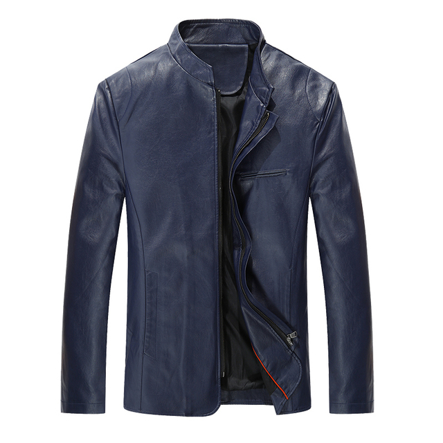 New Men's Clothes Male Leather Jacket Stand Collar Active Mens Windbreaker Coat Solid Slim Fit Motorcycle Jackets For Men