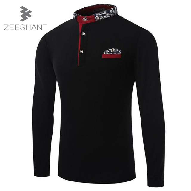ZEESHANT Solid Color Mens Long Sleeve Polo Shirt For Men Contrast Turn Down Collar Cotton Men Polo Shirt in Men's Polo Shirts