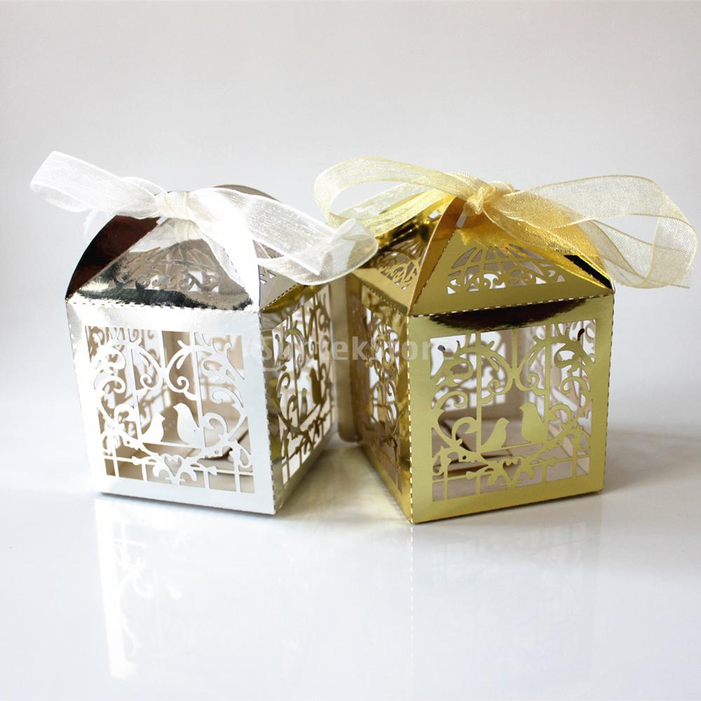 50pcs Laser Cut Birdcage Wedding Party Favor Gift Ribbons Candy ...