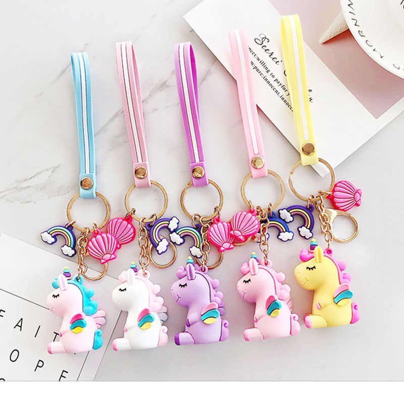 1PC Trendy Cute Fairytale PVC Rainbow Unicorn Keychain Multi-style Horse Shell Key Holder Silicone Key Ring For Woman Girls Gift