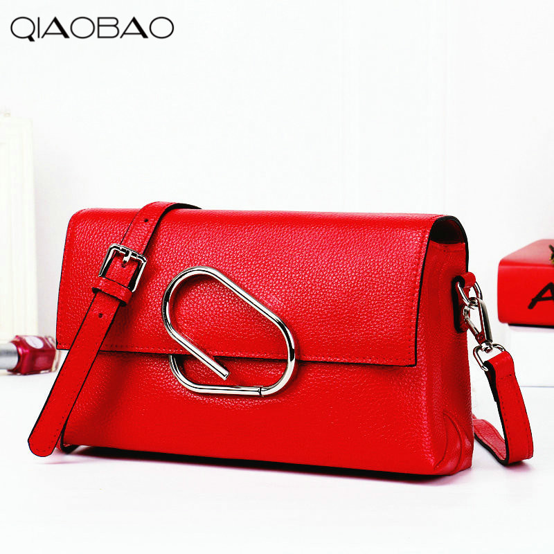 QIAOBAO 2018 new Korean version of the first layer of women's leather packet Messenger bag female shoulder diagonal cross bag bag female new genuine leather handbags first layer of leather shoulder bag korean zipper small square bag mobile messenger bags