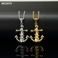 MCSAYS Hip Hop Jewelry Stainless Steel Ankh Cross Anchor Gold Sliver Color Pendant Box Chain Unisex