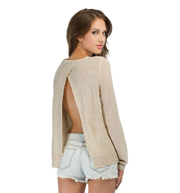 e7ccc66dba0e1 2014 Autumn New Solid Color Sweater Long Sleeve Open Back Basic Sweater  Womens Tops 6 Colors XXL size