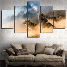 Modern Kanvas Gambar HD Dicetak Dinding Bingkai Seni 5 Pieces Hutan Hewan Serigala Melolong Gunung Landscape Living Room Home Decor(China)