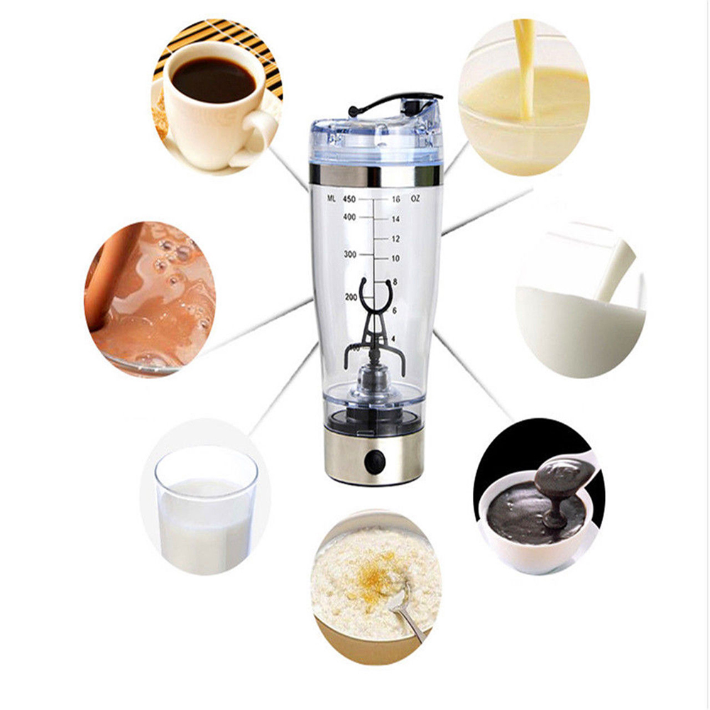 450ml Protein Powder Shakes Bottle Vortex Mixer Bottle Blender Drink Tools Electric Shaker Water Bottle Coffee Glass BPA Free