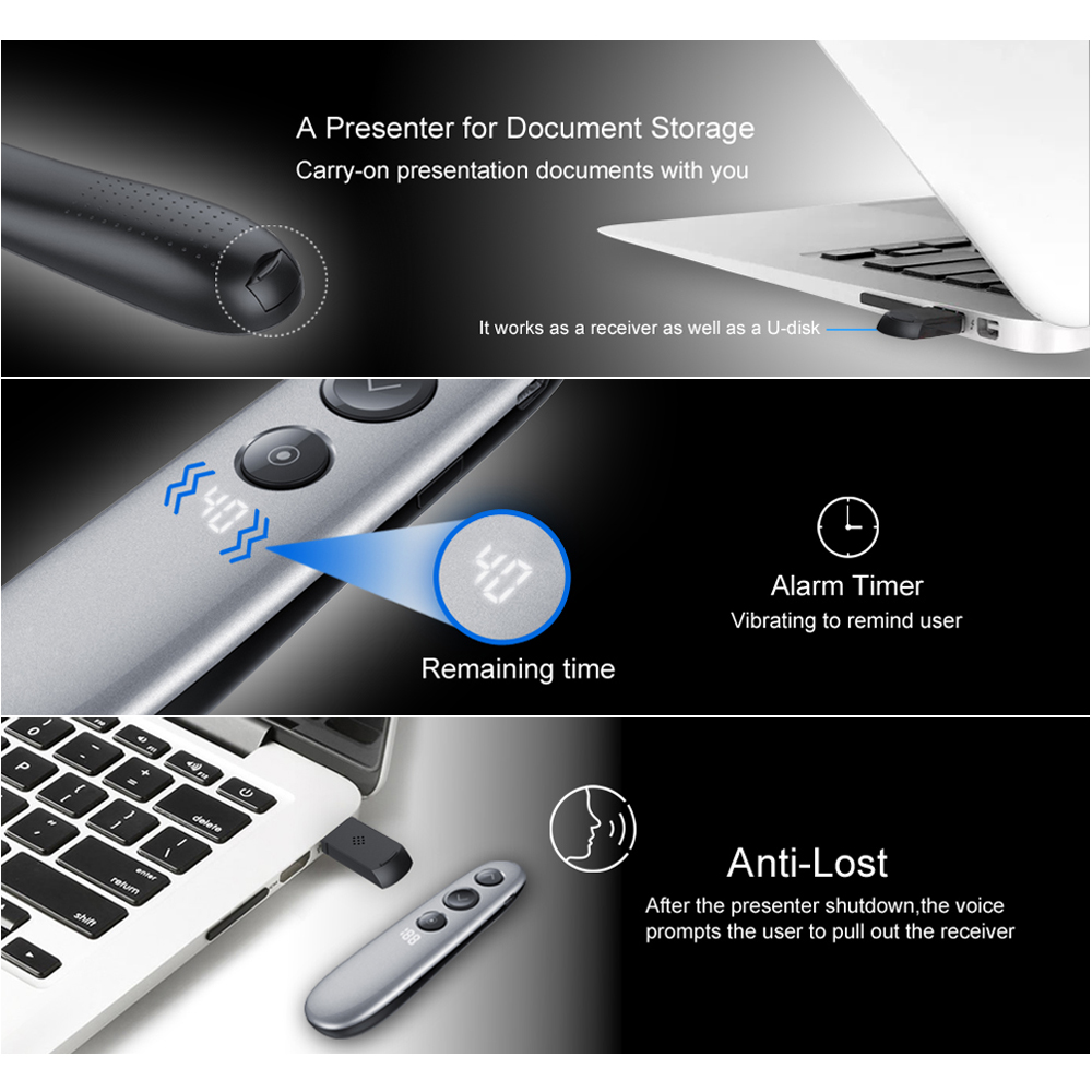 AVATTO H100 Spotlight Wireless Presenter Remote with Air Mouse,TF card, PPT Powerpoint Laser Pointer Presentation for Meeting