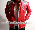 Rare PUNK Rock Motorcycle Classic MJ MICHAEL JACKSON Costume Beat it Red Zipper Jacket Fans Imitator Best Gift