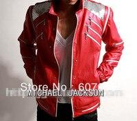 Rare PUNK Rock Motorcycle Classic MJ MICHAEL JACKSON Costume Beat it Red Zipper Jacket Fans Imitator Best Gift