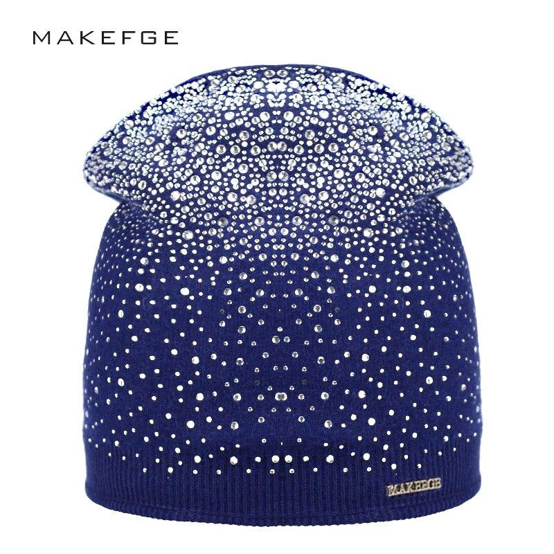 Женская зимняя шапка, вязаная, теплая, повседневная, со стразами