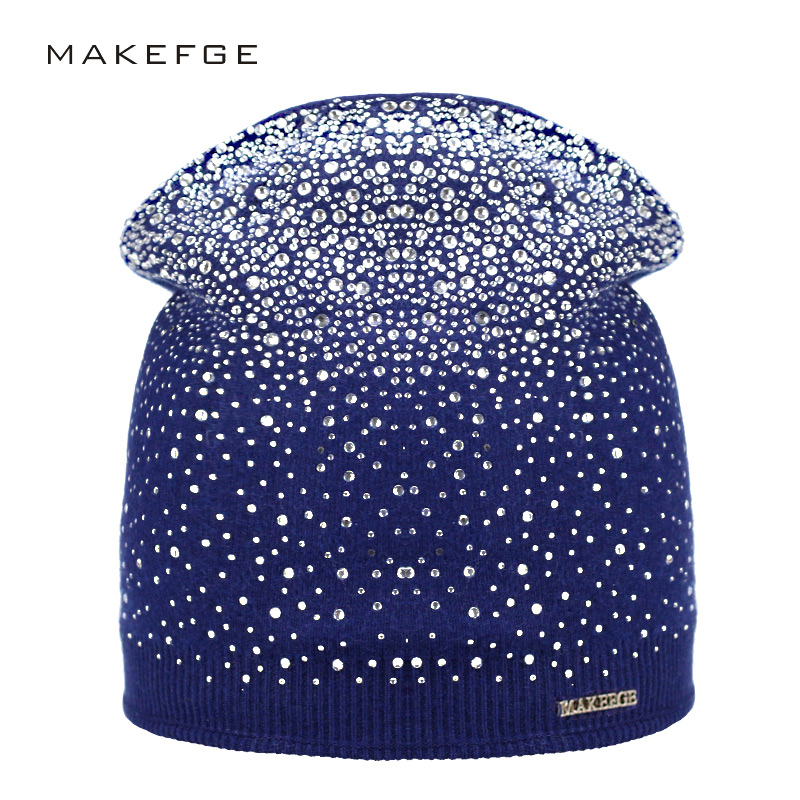 Women's Winter Hat Knitted Wool   Beanie   Female Fashion   Skullies   Casual Outdoor Mask Ski Caps Thick Warm Hats for Rhinestones Hat