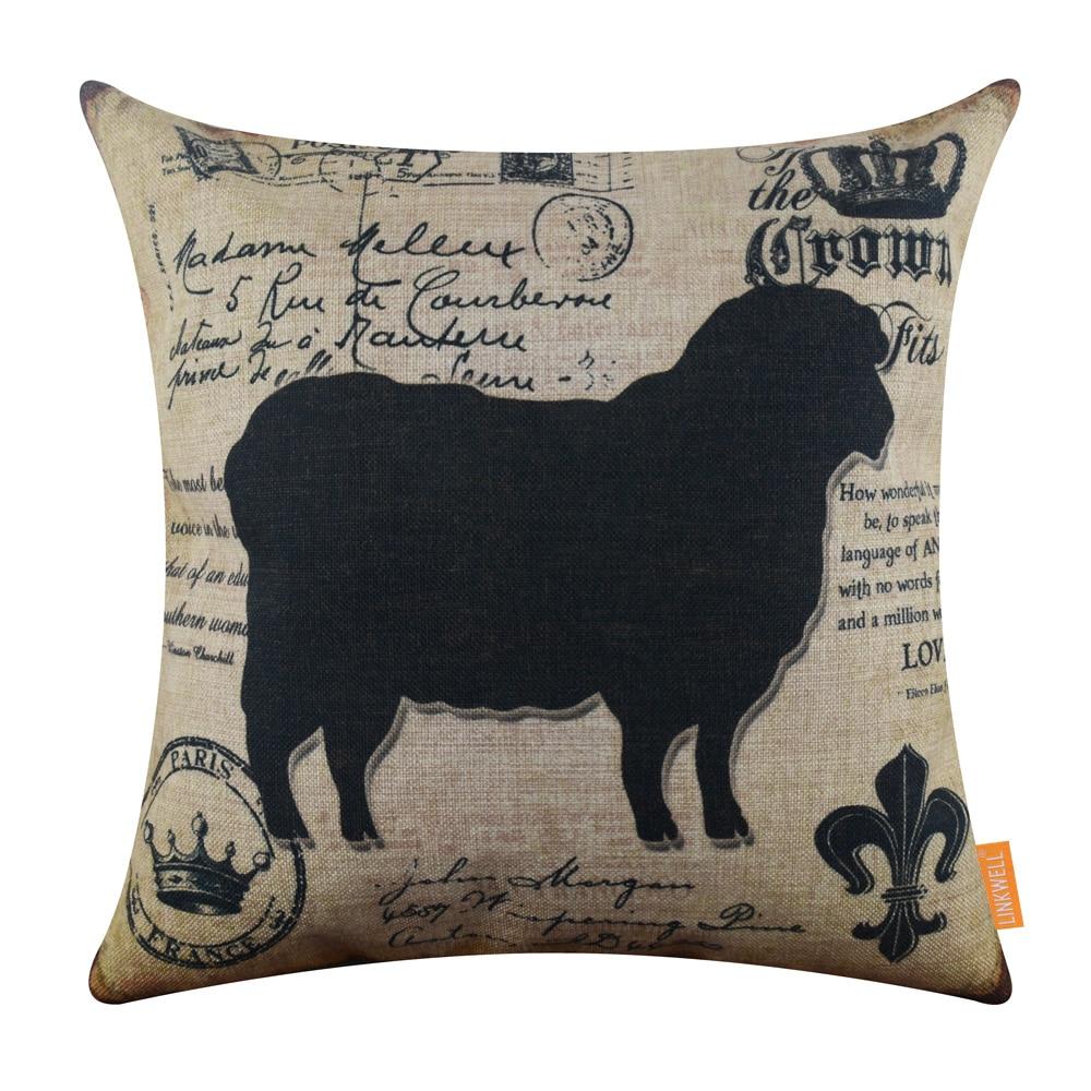 Linkwell 45x45 cm amerikanischen land bauernhof tier schafe crown fleur der lys vintage schwarz home decor kissenbezug sackleinen kissenbezug