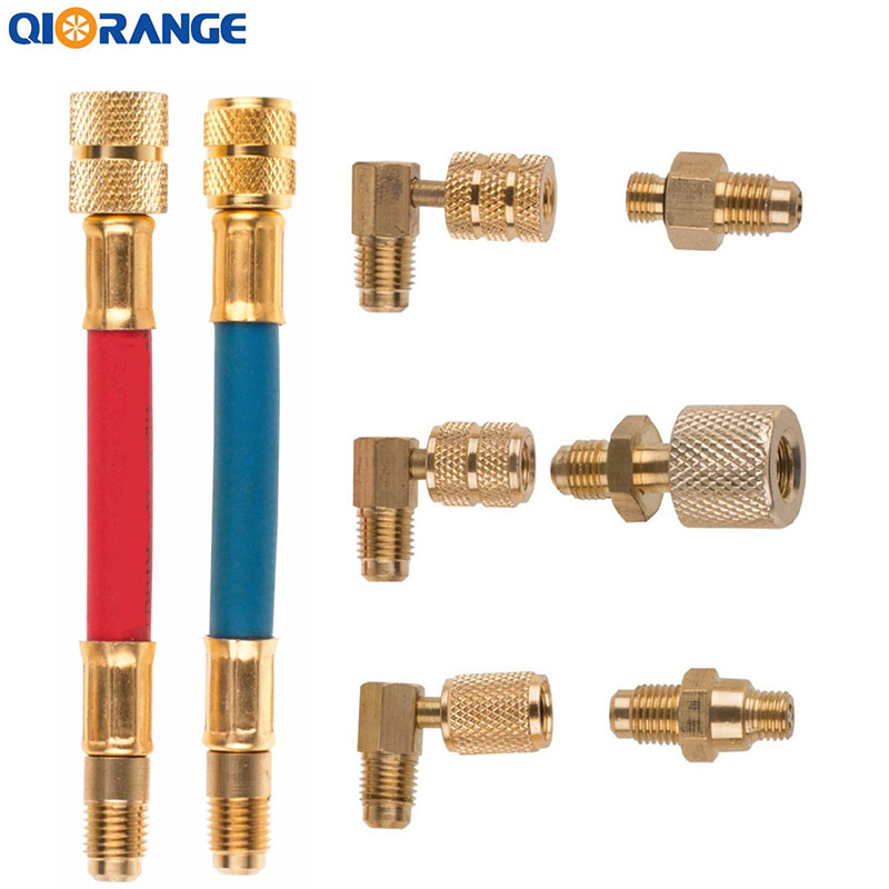QIORANGE Car Auto AC Air Conditioner Refrigeration R134A R12 Converting Adapter Hose Set Kits 8 Pcs