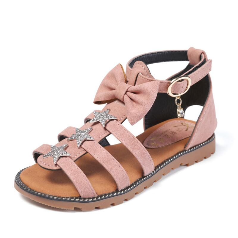 SKHEK New Summer Kids Girls Sandals Princess Roman sandalias Fashion Baby Girl Soft Bottom Hollow Out Shoes For School