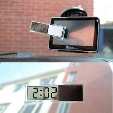 hot deal buy mini digital lcd display auto car electronic transparent clock schedule with sucker for home automotive interior accessories