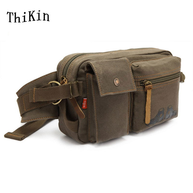 ThiKin Canvas Military Waist Bag Multifunctional Waist Belt Bag Mobile Phone Army Fanny Pack Bag Travel Men Leg Waist Bag