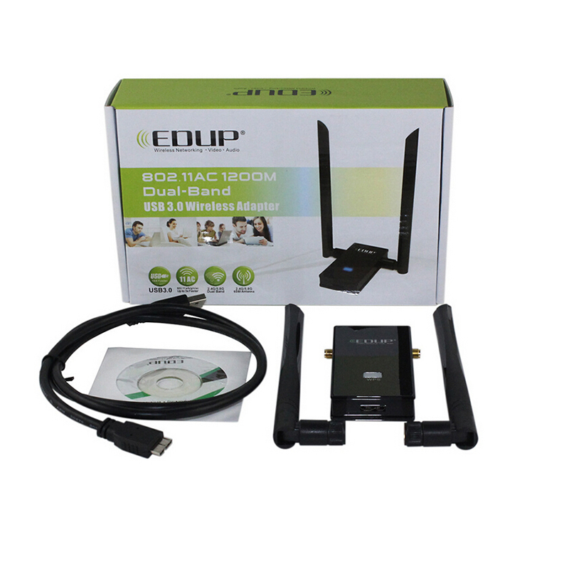 EDUP 1605 USB3.0 Wireless Network Card WIFI Adapter 2.4GHz/5Ghz Dual Band LAN 11AC 1200Mbps wi-fi Antenna Receiver for Desktop