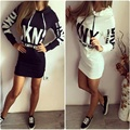 2017 Spring Autumn Dress Black White Casual Cotton Hooded Printed Dress Hoodies Slim Women Bodycon Dress Party Dresses Vestidos