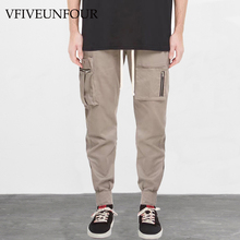 VFIVEUNFOUR Pockets Patchwork Harem Pants Men 2019 Harajuku Elastic Waist Drawstring Joggers Male Streetwear Cargo Pants plus size women plaid pants 2019 spring new streetwear style drawstring waist harem pants lining mesh pockets design capri pants
