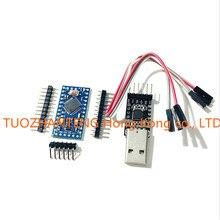 Free Shipping 1pcs 6pin CP2102 Module + 1PCS Pro Mini Module Atmega328 5V 16M For Arduino Compatible With Nano