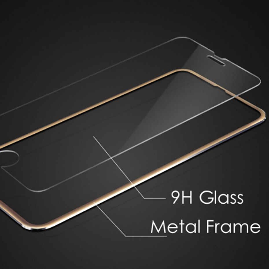 واقي للشاشة 9D لهاتف آيفون 7 8 6 6s من الزجاج المقسى على آيفون xr x xs Max زجاج واقي من الألومنيوم لهاتف آيفون 6s plus