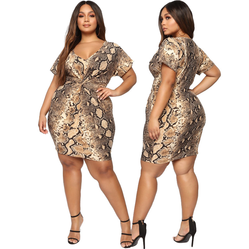 Snake Print <font><b>Dress</b></font> Plus Size <font><b>Dress</b></font> <font><b>4xl</b></font> 3xl <font><b>Sexy</b></font> <font><b>Club</b></font> Party Women 2019 Short Sleeve Mini Robe Ete Femme Summer Sommerkleid Xxxxl image