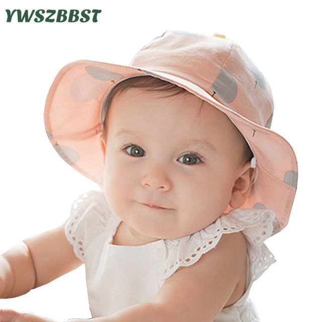 ade2d9847a2 New Balloon Print Cotton Baby Summer Hat Kids Girls Cap Sun Bucket Hats 0  to 3 years old Child Cap gorro
