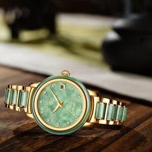 Image 5 - Luxury Real Jade männer Handgelenk Uhren Edelstahl Automatische Mechanische Uhr 30M Wasserdichte Kalender Männer Uhr uhren hombre