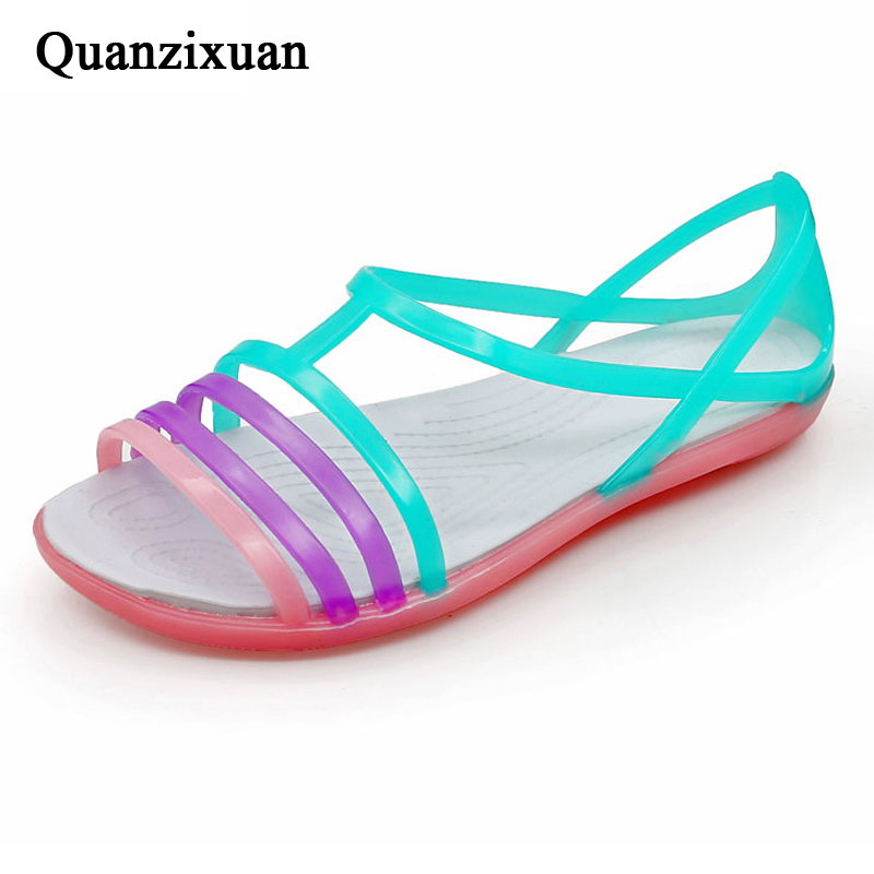 Quanzixuan Women Sandals Casual Jelly Shoes Woman Flats Sandals Comfortable Summer Flip Flops Beach Sandals boys girls antislip usb sandals summer cut out comfortable flats beach sandals kids children breathable led shoes with light