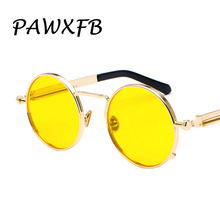 PAWXFB 2019 Newest Round Steampunk Sunglasses Women Men Coating Mirror Spring legs Sun glasses Vintage Red Oculos de sol 400UV