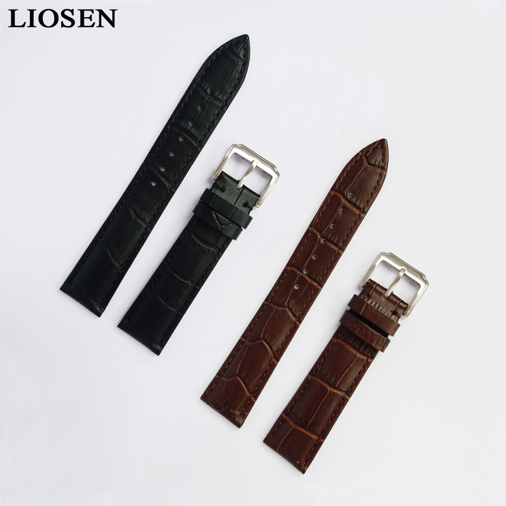 LIOSEN WatchbandsMen Women Genuine Leather Stainless Steel Buckle Strap Watch Band 16 18 19 20 21 22 24 mm Black Brown