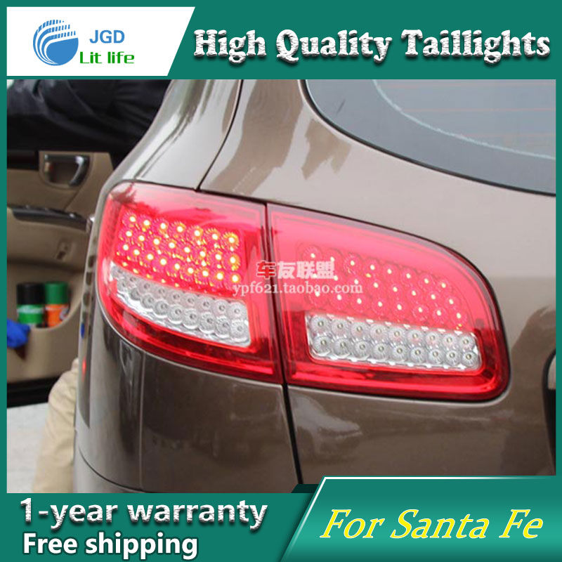 Car Styling Tail Lamp for Hyundai SantaFe 2007-2013 taillights Tail Lights LED Rear Lamp LED DRL+Brake+Park+Signal Stop Lamp купить в Москве 2019