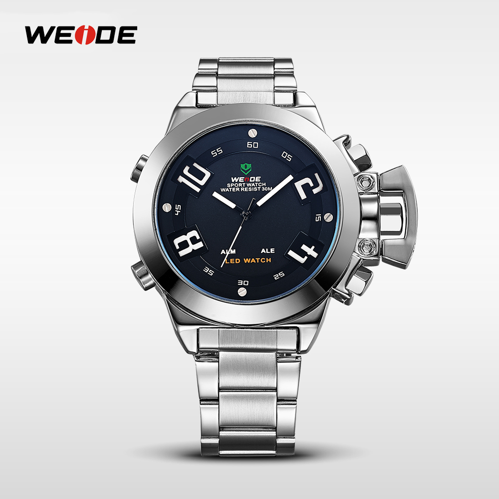 WEIDE Brand Men Quartz Watch Waterproof Multiple Time Zone Fashion Casual Style Clock Man Luxury Stainless Steel Band WH1008 weide casual genuin brand watch men sport back light quartz digital alarm silicone waterproof wristwatch multiple time zone