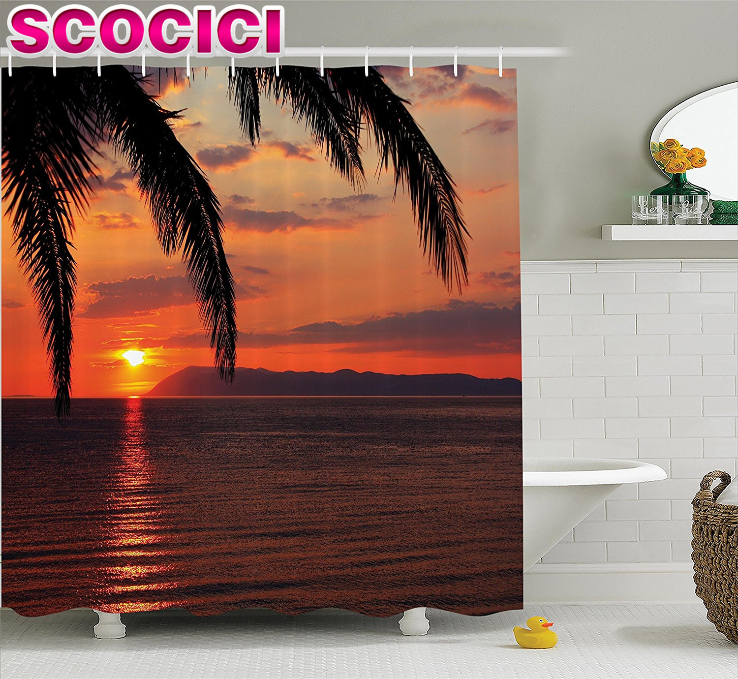 Tropical Decor Shower Curtain Set Sunrise On The Sea Palm Trees Exotic Holiday Honeymoon Romantic Beach