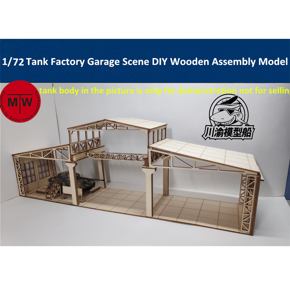 1/72 Scale Tank Factory Garage Repair Shop Scene Diorama DIY Wooden Assembly Model Kit CYH013