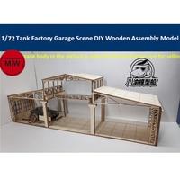 1/72 Scale Tank Factory Garage Repair Shop Scene Diorama DIY Wooden Assembly Model Kit CYH013