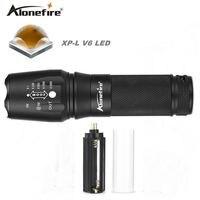 Alonefire e26 cree potężne nowy xp-l v6 latarka led 10 w super bright zoomable cree v6 26650 led latarka zoom światła latarka