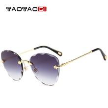TAOTAOQI Brand Cat Eye Sunglasses Women Designer Personality Rimless Vintage Female Eyewear UV400 Sun Glasses oculos
