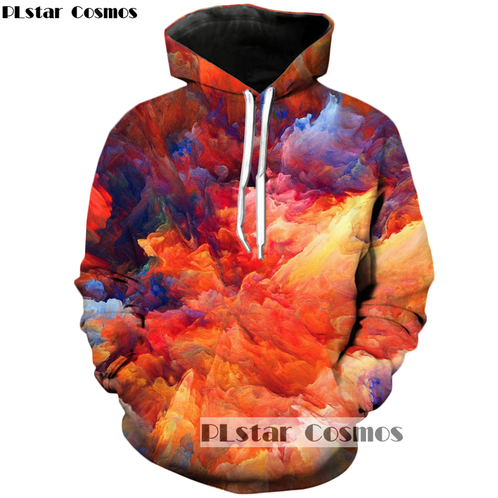 PLstar Cosmos Free shipping 2018 New Original design 3d Hoodies Oil Painting Print sweatshirt Mens Women Tracksuits R-1550
