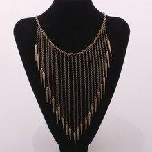 Gold Rivet Long Chain Tassel Necklace