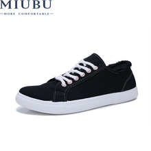 MIUBU Hot Sale Men Summer Casual Shoes Fashion Black/White Canvas Breathable Lace-Up Flat Sneakers Size 39-44