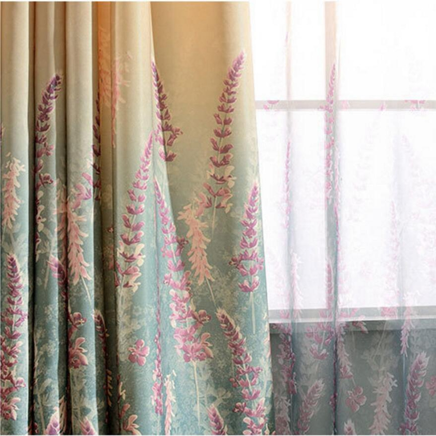 Europe American Floral Screens Lavender Print Shade Cloth Living