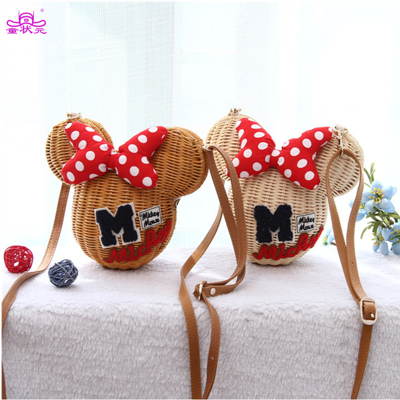 TZY Minnie Mouse Handgemaakte rotan tas Cartoon Handtas Lovely Girl Straw Strand schoudertas Vintage Casual Basket 2017 New