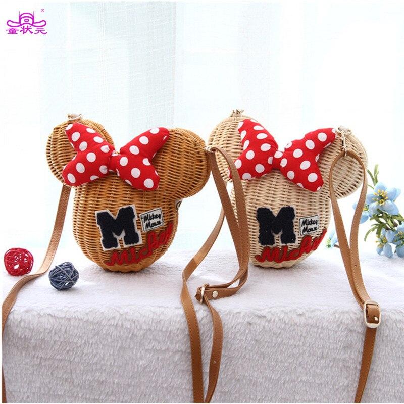 TZY Minnie Mouse Handmade Rattan Bag Cartoon Womens Handbag Lovely Girl Straw Beach Shoulder Bag Vintage Casual Basket 2017 New