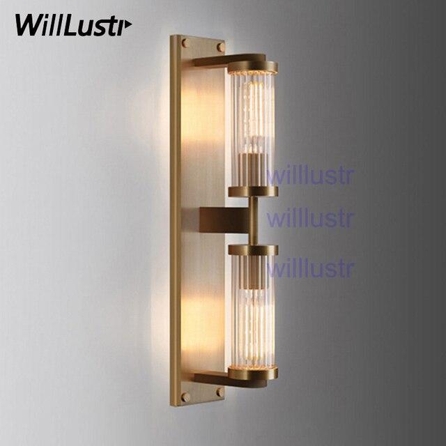 willlustr vintage cuivre couleur applique nervure cristal abat jour en verre lampe moderne eclairage porche