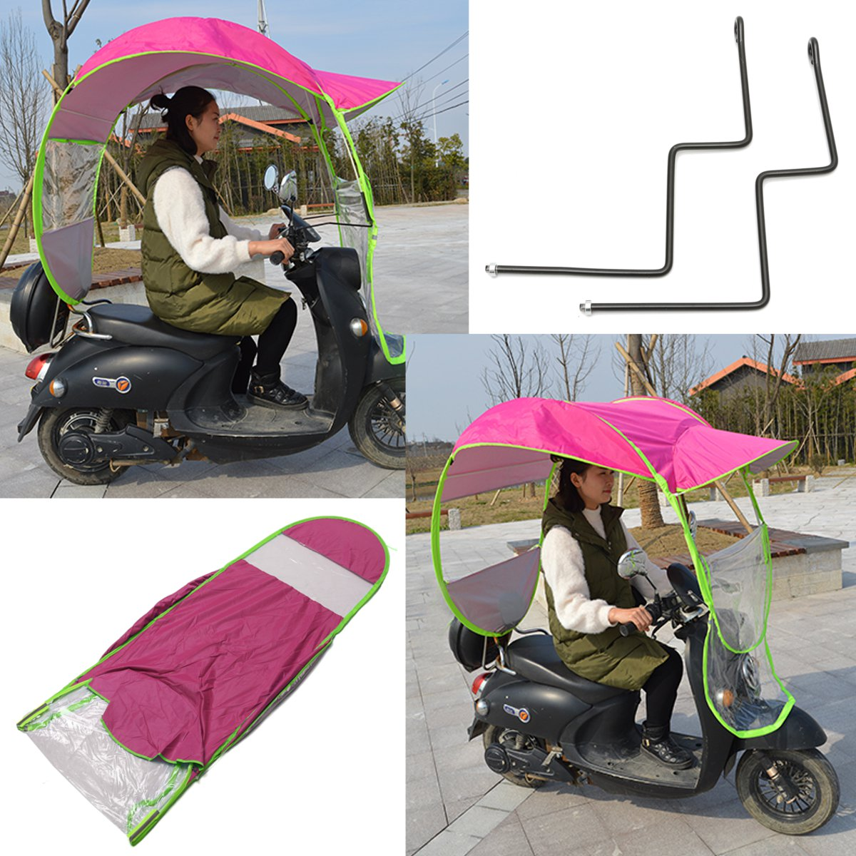 Protective Gear Motorcycle Rider Raincoat 2.8*0.8*0.7m Motorbike Scooter Rain Cover Motorcycle Electric Sun Shade Vehicle Umbrella Raincoat Poncho Cover Shelter Moderate Price
