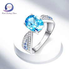 Merthus 925 Sterling Silver rings 2.5CT Swiss Blue Promise Engagement Anniversary Ring Fashion Women Jewelry
